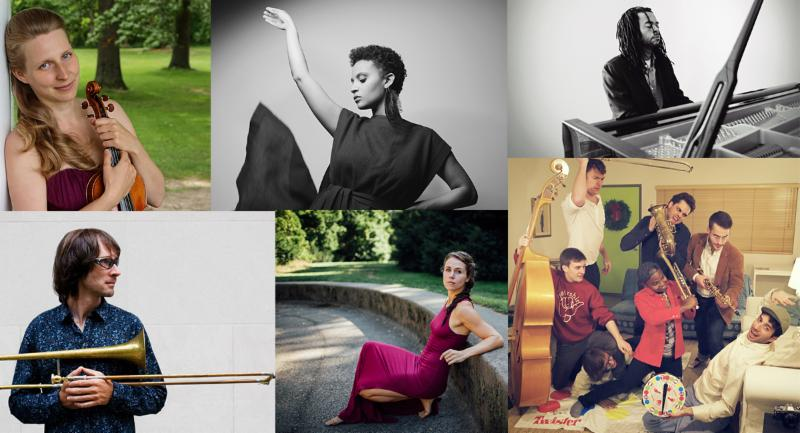 From left, clockwise: Helena Baillie by Ella Scott, Sarah Elizabeth Charles by Shervin Lainez, Marc Cary by Rebecca Meek, Sammy Miller & the Congregation by Danny Wirick, Joanna Wallfisch by Josh Goleman, Chris Washburn (c) Chris Washburne