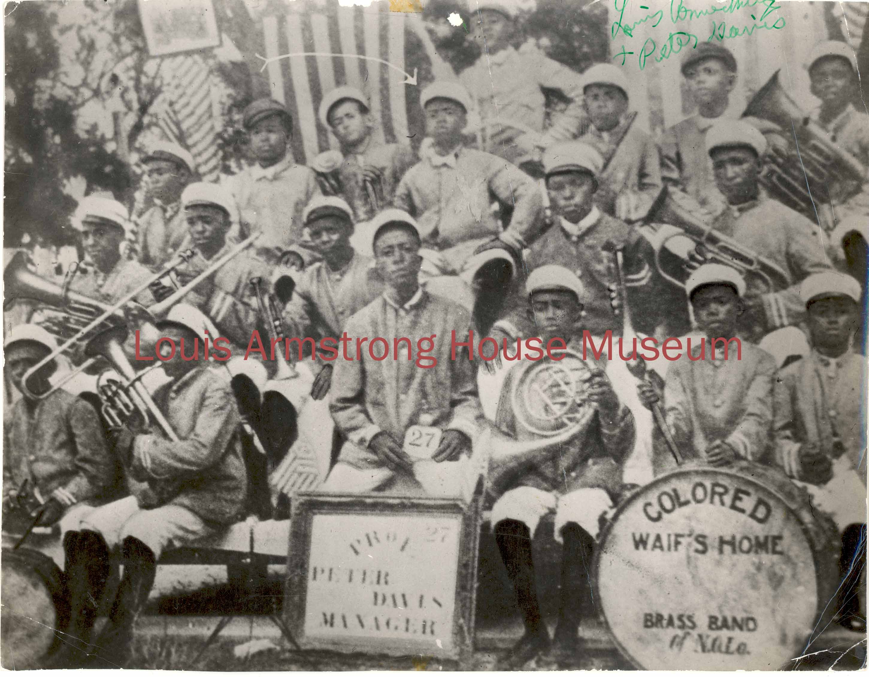 Gift of Peter Gold; Courtesy of the Louis Armstrong House Museum The earliest surviving photograph of Armstrong, this 1913 image depicts him as the confident leader of the Waif's Home Brass Band, a memory he always treasured.